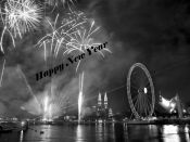 HAPPY NEW YEAR BLACK AND WHITE