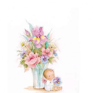 BABY ANGEL WITH FLOWERS