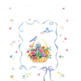 BASKET OF FLOWERS AND BIRD